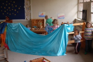 A piece of fabric can be anything a preschooler wants it to be!